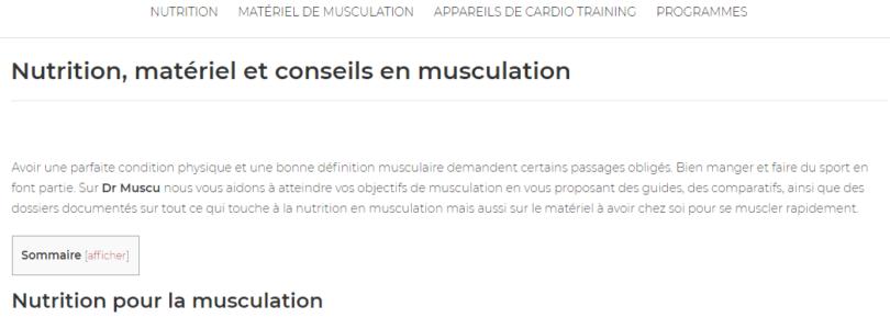 Matériel de musculation sur dr-muscu.fr