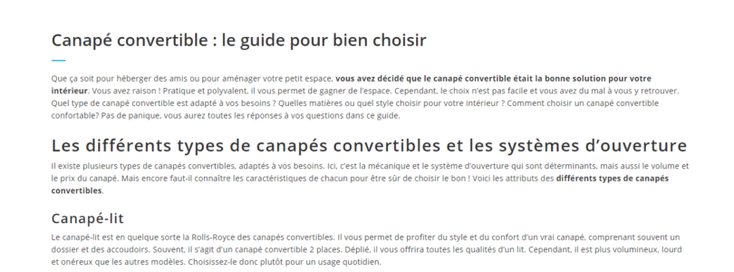 Guide du canapé convertible